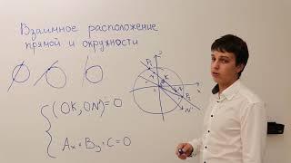 Взаимное расположение и точки пересечения прямой и окружности