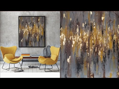 easy-acrylic-abstract-gold-leaf-painting-using-4-colors-|grey-|-yellow-|black-|-brown