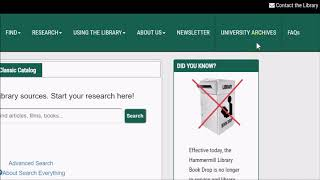 Intro to the Mercyhurst Libraries' Website