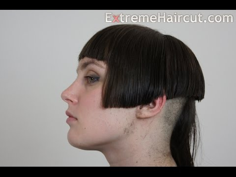 Long To Short Classic Bob Hairstyle With Short Bangs And Long Tuft
