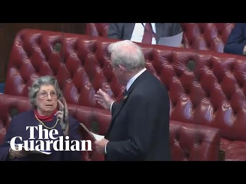 Lady Trumpington gives V-sign to fellow peer – archive video
