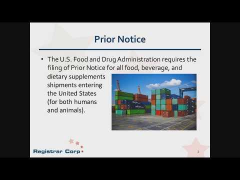 Fda prior notice filing time requirements