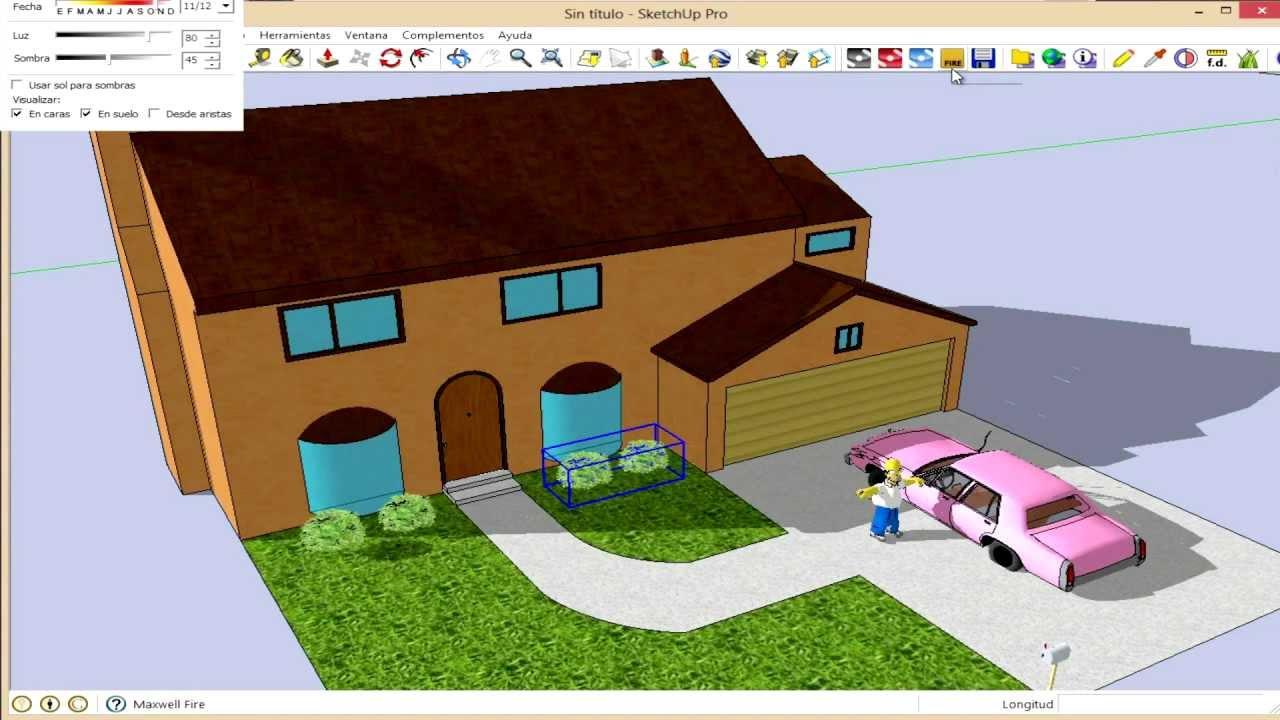 Curso sketchup herramientas volumenes ejemplo casa for Casa para herramientas