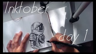 Drawing an astronaut / Inktober day 1