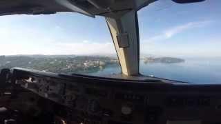 Греция. Керкира. Заход на посадку вид из кабины пилотов. Боинг 767
