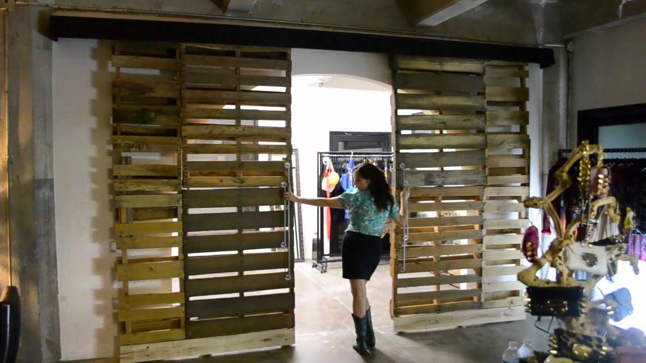 Reclaimed Wooden Pallet Sliding Doors  YouTube