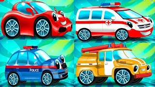 Trucks for Children, police chase, fire truck - Learn Vehicles Colors  -  Videos for Kids