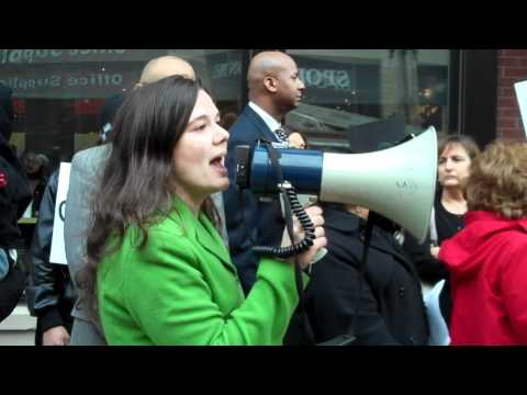 Emily Tulli from National Immigration Law Center speaks on behalf of fired Chipotle Workers, 3/21