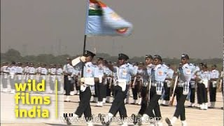 Marching contingent of IAF takes part during Air Force day