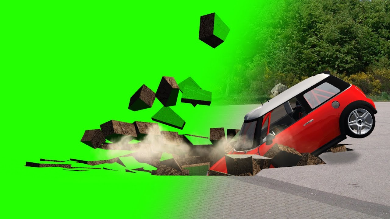 hole in the ground swallows car - green screen effect - YouTube