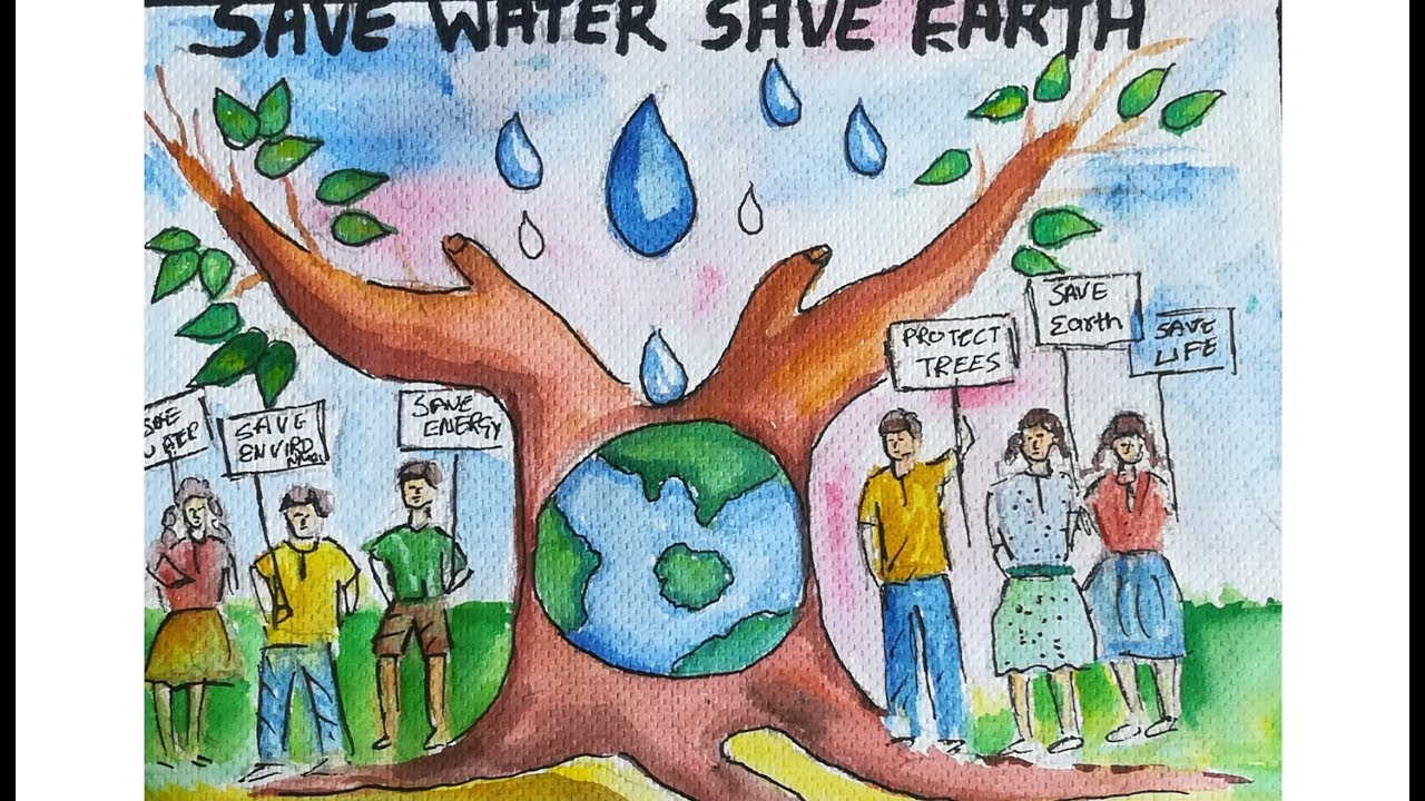 Save earthsave watersave trees drawing save earth poster