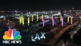 Watch: L.A. Illuminated In Honor Of Kobe Bryant | NBC News