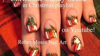 4 Nail Art Tutorials | Diy Easy Christmas Nails | Candy - Holly - Snowman & Xmas Tree!!