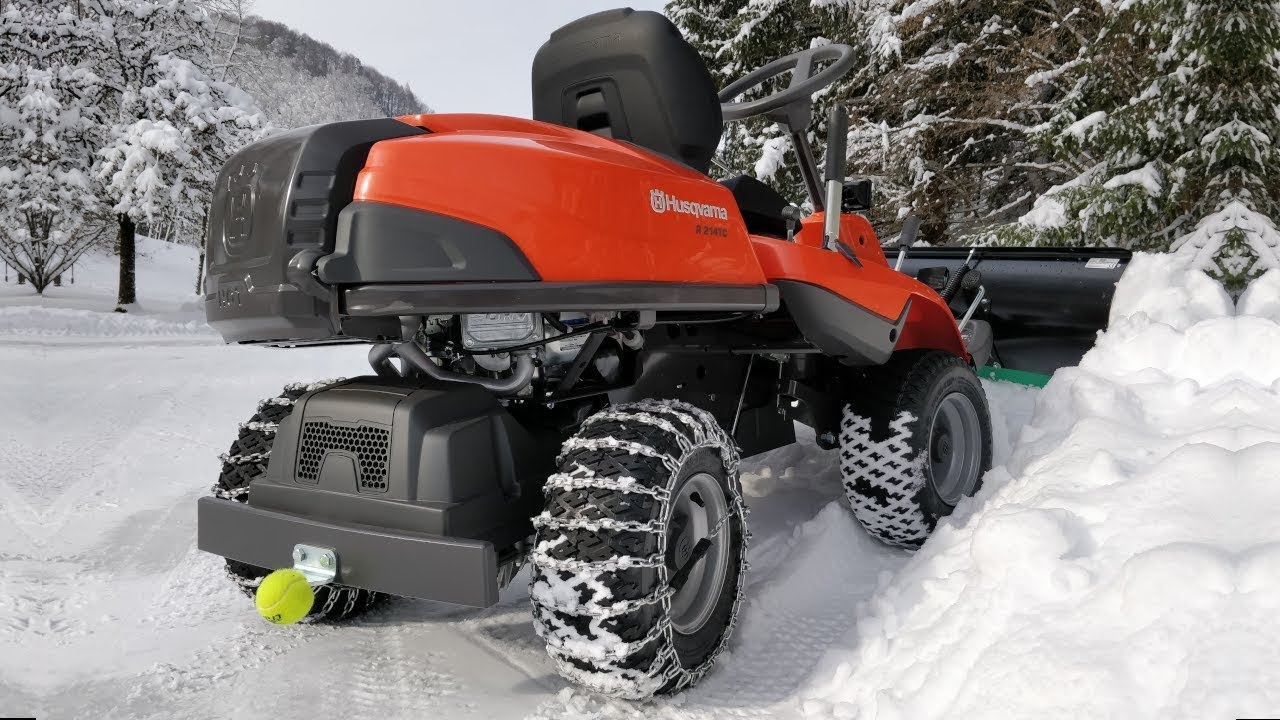 husqvarna rider 214 tc deep snow plowing. Black Bedroom Furniture Sets. Home Design Ideas