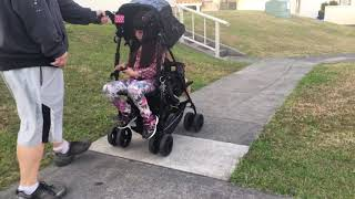 strolling with the kinderwagon jump stroller (sit n stand umbrella stroller)