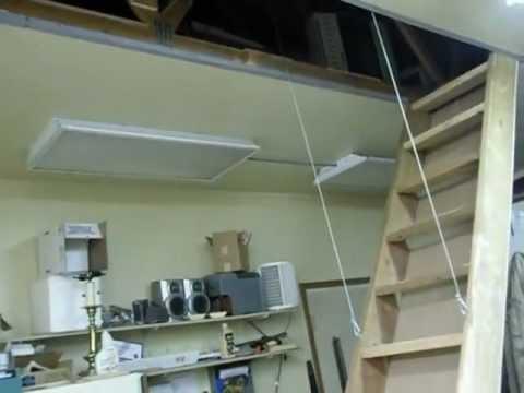 AUTO STAIRS (RETRACTABLE ATTIC LOFT STAIRS) IN GARAGE SHOP DIY