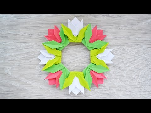 Paper WREATH WITH TULIPS | Origami Craft Home decor | Tutorial DIY