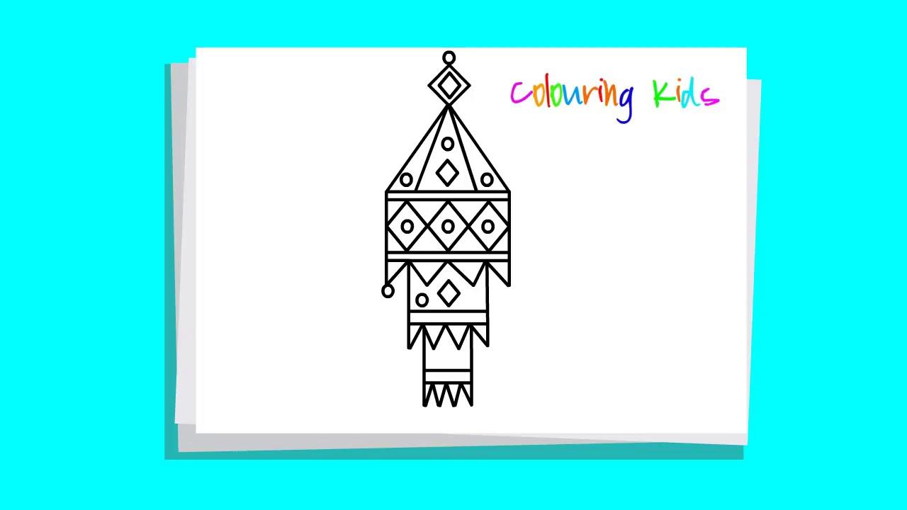drawing lantern ll kandil ll aakash kandil ll step by step very easy ... for Diwali Lantern Drawing  59nar