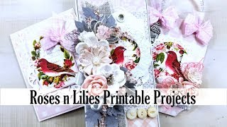 Roses and Lilies Printable Projects Cards Tag Polly's Paper Studio Vintage Tutorial Process DIY Art
