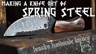 Ep. 1- Making a knife out of a salvaged leaf spring with HHK