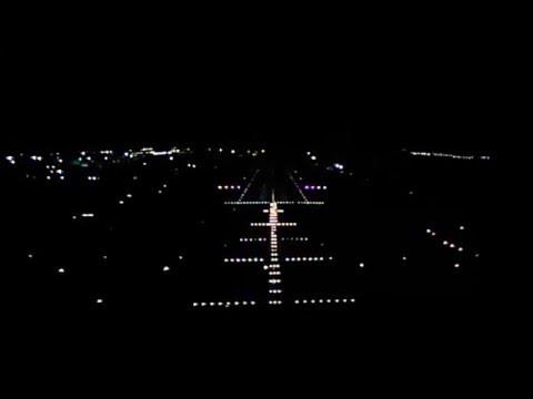 Emirates A380-800 night landing in Dubai (front camera)