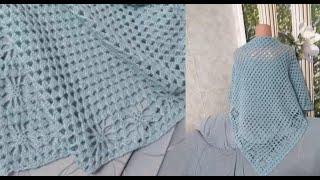 Вяжем шаль и бактус крючком по одной схеме