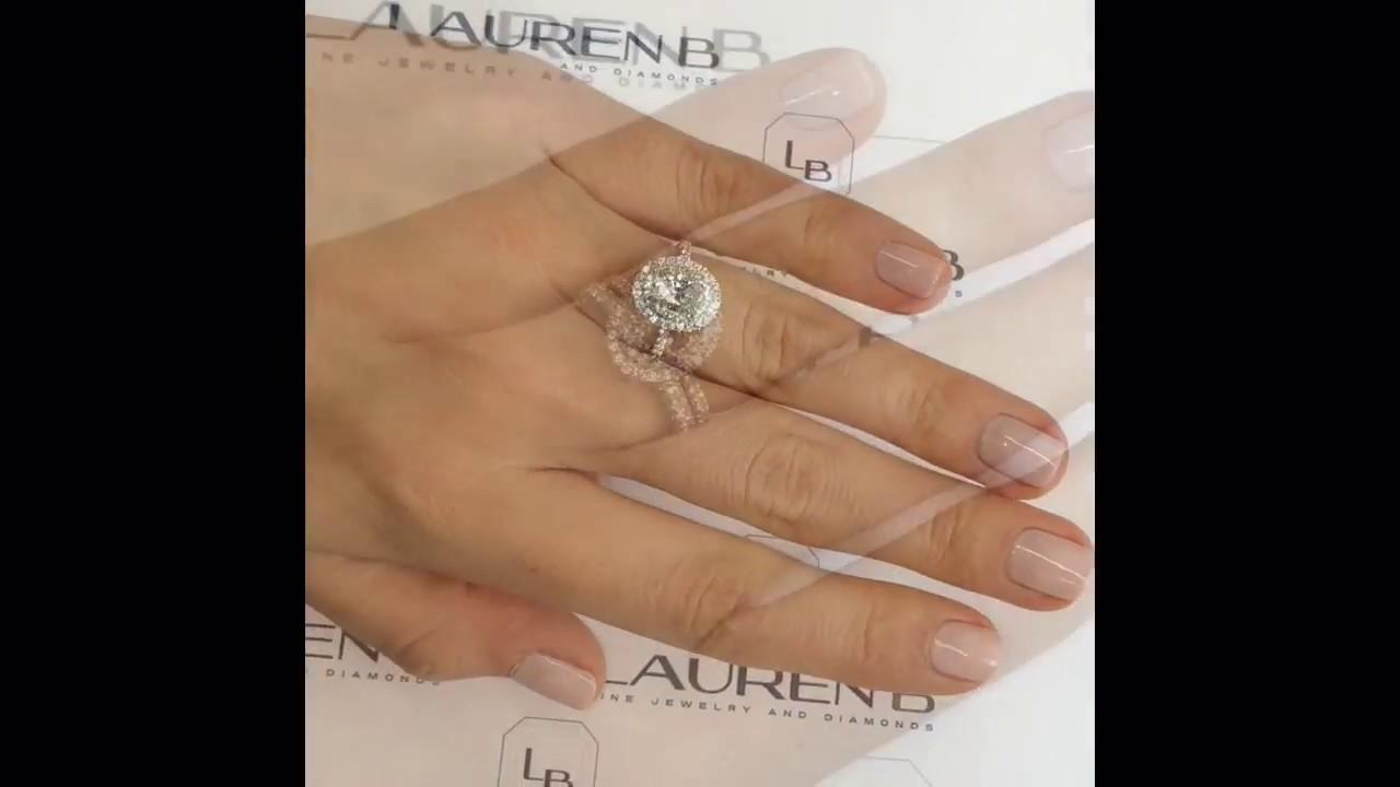 1 Carat Oval Diamond Halo 2tone Engagement Ring
