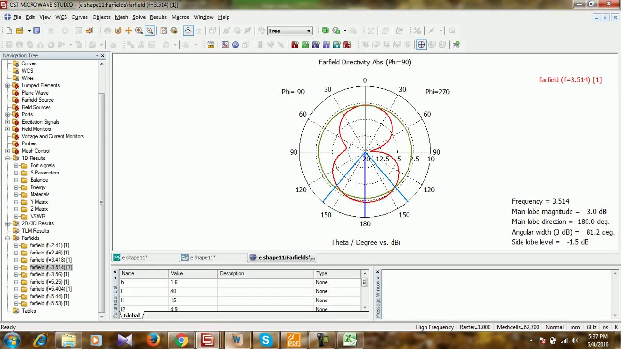 Excel Plotting of E and H field Directivity from CST MSW