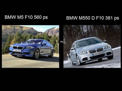 BMW M5 F10 vs BMW M550 D xdrive diesel 381 ps drag acceleration разгон ускорение