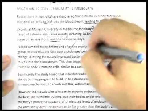 ปี 2558 วิชา ภาษาอังกฤษ ตอน Extreme exercise linked to blood poisoning