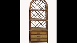 Chinese Antique Bamboo Rattan Face Hand Made Bookcase Display Cabinet Wk2771