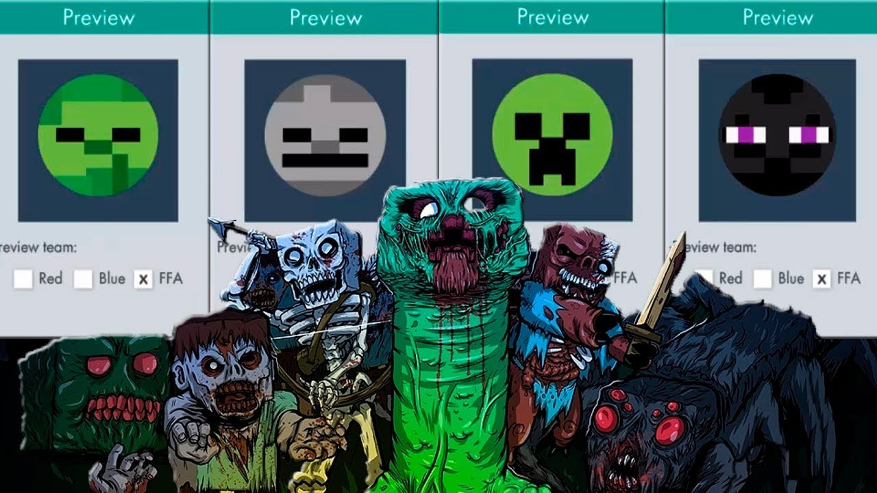 Bonk.io como fazer a skin do zumbi, esqueleto, creeper e enderman do jogo  minecraft