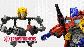 Transformers Bumblebee Talks | Optimus Prime Helps Complete Bumblebee Construct-Bots