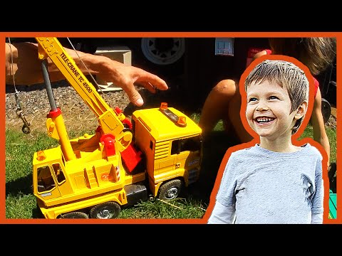 Toy Crane Truck Lifts Toys