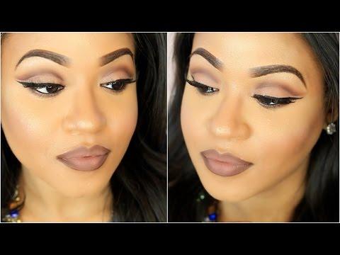 Neutral Cut Crease + Brown Ombrè Lips Makeup Tutorial