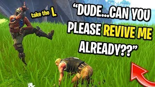 I knocked my teammates and DIDN'T revive them on Fortnite... (KID STARTED CRYING!)