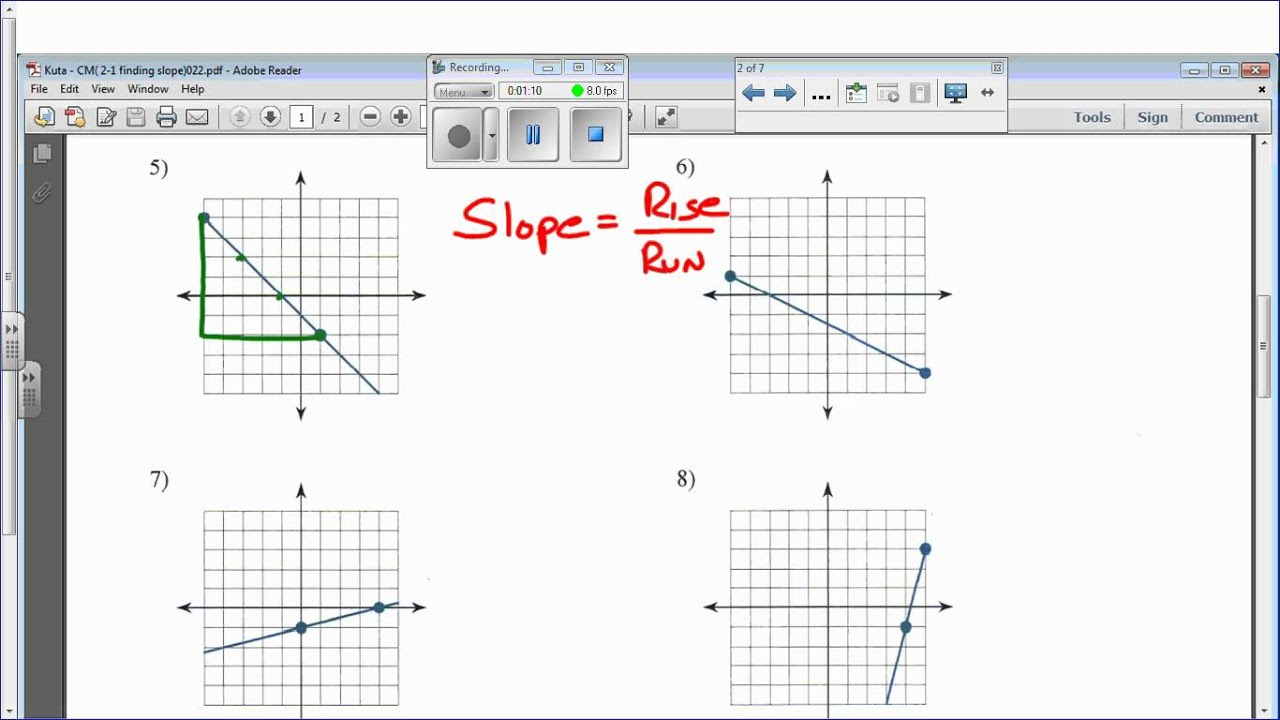 Worksheets Finding Slope From A Graph Worksheet kuta cm 2 1 finding slope youtube