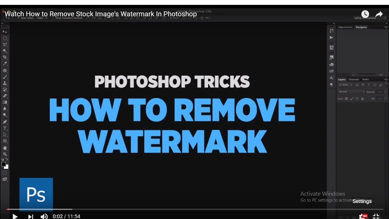 Watch How to Remove Stock Image's Watermark In Photoshop