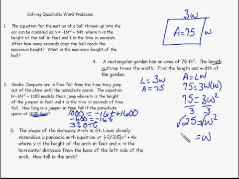 Alg 2 Chp 5 Quad Functions; Quadratic Word Problems - YouTube