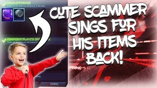 CUTEST SCAMMER EVER SINGS FOR HIS ITEMS BACK ON ROCKET LEAGUE... SCAMMING A 8 YEAR OLD SCAMMER