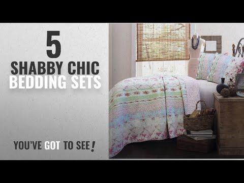 Top 10 Shabby Chic Bedding Sets [2018]: Cozy Line Vintage Cottage Bedding Quilt Set Pink Roses