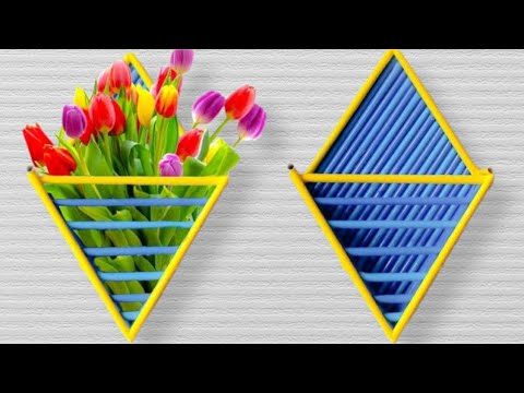 How To Make A Beautiful Wall Hanging Paper Flower Holder - Paper Craft