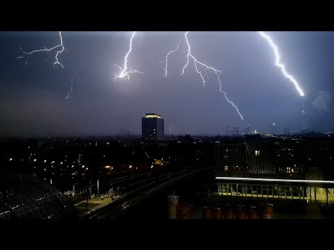 """Lightning strike hits Berlin Television Tower - Thunderstorm """"Jörn"""" - 11.06.2019"""