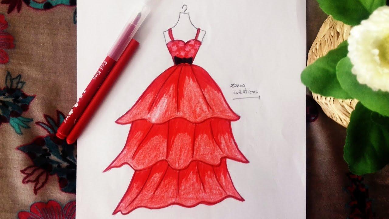 Princess Dress Drawing Youtube