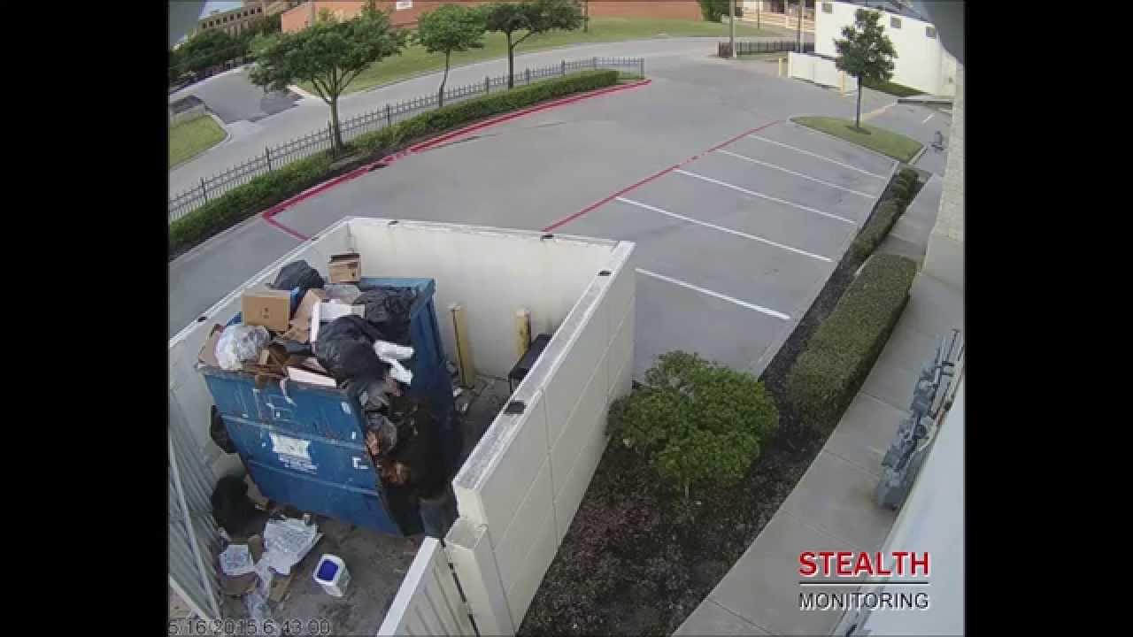 Dumpster Diver Flicks off Surveillance Camera - Office Security