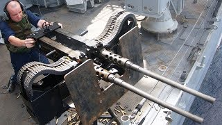 U.S. Sailors Fire the M2 Browning and Twin M2HB • Military Exercises at Sea