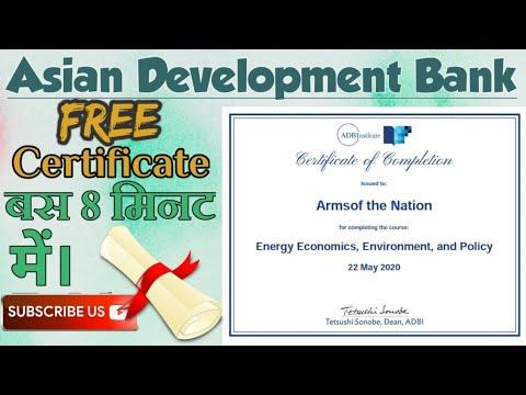 #FREE certificate  course  #Asian Development Bank Certifica