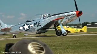 14 P-51 Mustangs Simultaneous Engine Run and Takeoffs