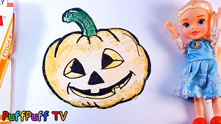 Glitter Halloween Giant Pumpkin Elsa's Halloween Night coloring and drawing for Kids, Toddlers