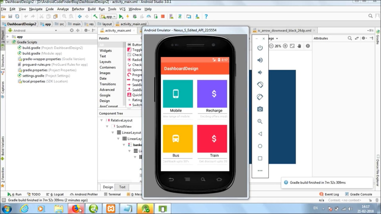 Material Home Dashboard Design In Android Studio Using CardView